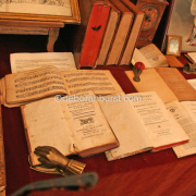 antique table books flea market watermark